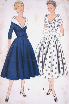 Vintage 1950s Grace Kelly Evening Dress Pattern Shawl Collar Low V Neck Fitted Bodice Flared Skirt McCalls 3074 Bust 30
