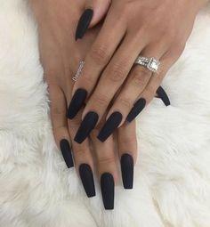 EMMACESKI ♡ Black Acrylic Nails, Coffin Nails Matte, Best Acrylic Nails, Black Matte Acrylic Nails, Black Acrylics, Coffin Acrylics, Matte Nail Polish, Nail Nail, Faux Ongles Gel