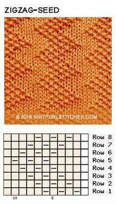 Just Knit and Purl - Zigzag Seed stitch. Just Knit and Purl Zigzag Seed stitch. Just Knit and Purl Knitting Stiches, Knitting Charts, Loom Knitting, Crochet Stitches, Free Knitting, Stitch Patterns, Knitting Patterns, Crochet Patterns, How To Purl Knit