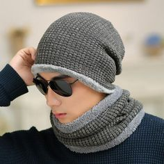 802abdce387  Dexing set male sheep knitted hat winter hat beanies for men women cap  cold thermal muffler scarf new year father gfit