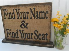 Seating chart wedding reception table sign, rustic country burlap vintage look on Etsy, $44.00