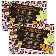 Cardstock Baby Shower Safari Invitations Jungle Cheetah Leopard Monkey #newyorkinvitations #BabyShower