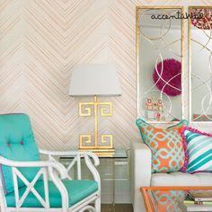 Chevron Lines Orange Peel & Stick Fabric Wallpaper by AccentuWall, $35.00