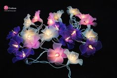 3 tones : 20 mixed 3 tones Orchid Flowers String Lights Fairy lights Party Decor Wedding Garden Spa and Holiday Lighting via Etsy