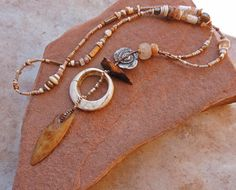 Ancient Shell and Quartz, Fossil Ivory, Handmade Bronze, Pearl and Trade Bead Talisman Necklace