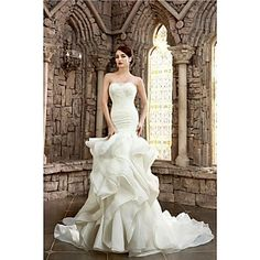 Trumpet / Mermaid Petite / Plus Sizes Wedding Dress Court Train Strapless Lace / Organza / Satin with – USD $ 279.99