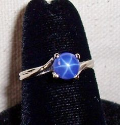 Vintage 14K White Gold Blue Star Sapphire Ring, Size 6.75