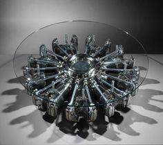 Radial Aircraft Engine Table | From a unique collection of antique and modern side tables at https://www.1stdibs.com/furniture/tables/side-tables/