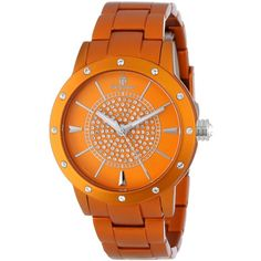 Burgmeister Crazy Color Analog Watch ($119) ❤ liked on Polyvore featuring jewelry, watches, orange watches, swarovski crystal watches, dial watches, orange jewelry and swarovski crystal jewelry