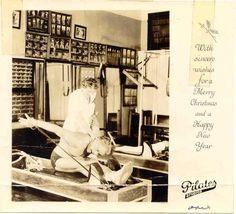 Original Pilates Christmas card from Joe and Clara Pilates #pilates #history