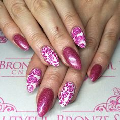 Nsi acrylic nail extensions cnd shellac and lecente glitter with moyou stamping nail art