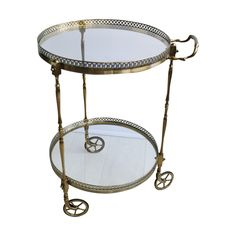 Circular Brass Vintage Drinks Trolley