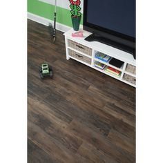 Antique woodland oak/dark brown rustic vinyl peel & stick planks from Lowe's — for kitchen — $165 for 168 sq ft!