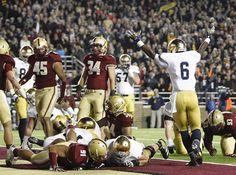 Theo Riddick (6) celebrates an Irish touchdown against Boston College.