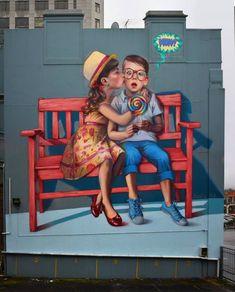 Adorable street art seen in New Zealand. Created by artist Natalia Rak.