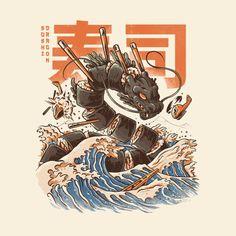 L'art Du Sushi, Sushi Art, Sushi Food, Japan Illustration, Arte Copic, Art Pop, Arte Do Kawaii, Drawn Art, Art Asiatique