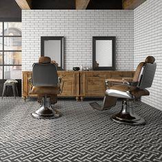 Barber Shop Interior, Hair Salon Interior, Stone Flooring, Kitchen Flooring, Wall And Floor Tiles, Wall Tiles, Tiles Uk, Cement Tiles, Barbershop Design