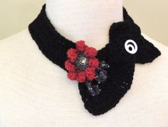 Modern Elegance Accent Scarf Black Grey Red by Valerie Baber Designs - IntricateKnits, $35.00