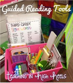 http://www.teachinginhighheels.com/  Guided reading Tools!