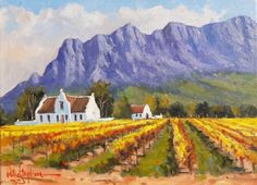 Landscape Paintings Oil Painting - Cape Dutch Farmhouse in the Mountains by Willie Strydom