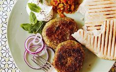 Courgette/Zucchini Kasha (Buckwheat) falafel burger recipe  A fabulous spicy vegetarian burger made with roasted buckwheat and grated courgette, and served with pitta, sweetcorn relish, yogurt and mint