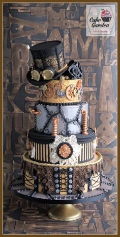 """My Steampunk Fantasy weddingcake for """"Taart en Trends"""" in the Netherlands. I loved making this cake, because I love steampunk and fantasy, so it became a wonderful combination to make a wedding cake in this style. I'm proud of the result! Pretty Cakes, Beautiful Cakes, Amazing Cakes, Crazy Cakes, Fancy Cakes, Pink Cakes, Cupcakes, Cupcake Cakes, Shoe Cakes"""