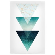 Geometric Triangles in Aqua, Teal and Rose Gold