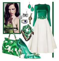 """""""Dolce&Gabbana Green Style"""" by redstar88 ❤ liked on Polyvore featuring Dolce&Gabbana, Roksanda, ABS by Allen Schwartz and Blue Nile"""