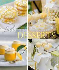 Yellow Desserts for a baby shower Yellow Bridal Showers, Baby Shower Yellow, Baby Shower Brunch, Baby Yellow, Mellow Yellow, Baby Shower Cakes, Baby Showers, Bright Yellow, Yellow Desserts