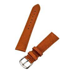 Hadley Roma Orange 18 mm Wide Genuine Lizard Leather Strap