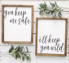 Set of 2 14x17 framed wood signs. You may customize colors at no additional charge. All signs are distressed and one of a kind.