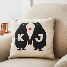 A personalised penguin love cushion.We are able to provide customised cushions within very short lead times as corporate gifts, please contact the seller via the 'ask seller a question' button for more information.A cute penguin cushion which can be personalised with two initials. Not only do Tillyanna cushions make great presents, they are the perfect home accessory. From country cottages to contemporary homes, their classic timeless designs are always a focus point of the room and a great…