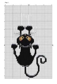 """Cookie Cross-Stitch Cat Pattern Use sugar lace icing and a cross-stitch mold to create a grid, then use royal icing to """"stitch"""" the design. Cat Cross Stitches, Cross Stitch Charts, Cross Stitch Designs, Cross Stitching, Cross Stitch Patterns, Loom Patterns, Crochet Cross, Crochet Chart, Filet Crochet"""