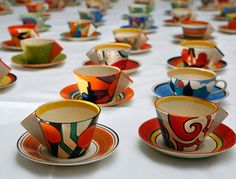 A collection of one hundred teacups by Clarice Cliff on August 27, 2008 in London, England. The collection of a hundred teacups is thought to be the largest collection by the renowned designer Clarice Cliff to come up for sale.