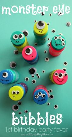 Monster Eye Bubbles (Wait Til Your Father Gets Home) is part of First Birthday crafts I'm super excited to be a part of my friend Amber's Big Birthday Bash this week by sharing a simply party fa - Little Monster Birthday, Monster 1st Birthdays, Monster Birthday Parties, First Birthday Parties, First Birthdays, Creative Birthday Gifts, Birthday Gifts For Boys, Diy Gifts For Kids, Birthday Diy