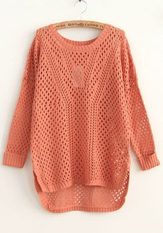 Pink Geometric Irregular Nine's Sleeve Acrylic Sweater