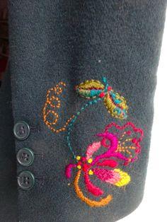 Hand embroidered honeysuckle in crewel wools