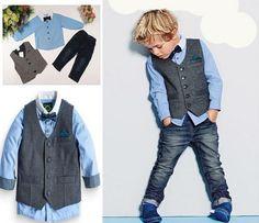 Boys Clothing Sets - Pants, Shirt w/bow tie, Vest - Lil Tadpole Couture - 1