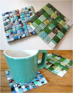 7 Unique Homemade Coaster Ideas | Recycled Magazine Coasters.