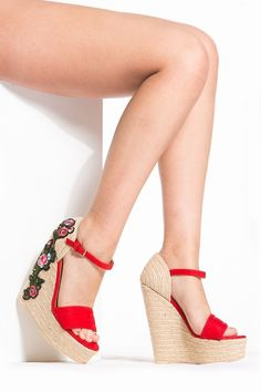 Red Faux Leather Patched Detailed Espadrille Wedges @ Cicihot Wedges Shoes Store:Wedge Shoes,Wedge Boots,Wedge Heels,Wedge Sandals,Dress Shoes,Summer Shoes,Spring Shoes,Prom Shoes,Women's Wedge Shoes,Wedge Platforms Shoes,floral wedges #sandalsheelswedge #promheelswedges