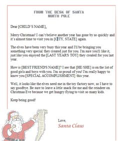 Free template from Free Santa Clause Letters.com More
