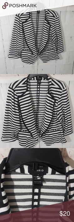 Torrid black and white open front striped blazer Beautiful blazer with stripes no buttons open front. The jacket is a size 3. Jacket does have some minor pilling, as it is a cotton material. Torrid Jackets & Coats Blazers
