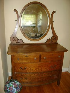 ANTIQUE OAK DRESSER WITH MIRROR, BEAUTIFUL EARLY AMERICAN 20TH. CENT 48236 MICH on eBay!