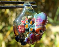 Reef Implosion Pendant With Octopus . Hand Blown Glass Necklace . Heady Glass Pendant