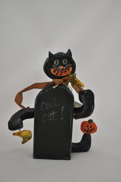 Cool Black Cat Halloween Figure by folkhearts on Etsy, $25.00
