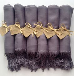 Set of 6 Light Silver Shawls with Favor Tags by YadisCloset, $66.00