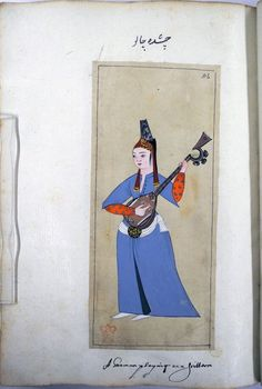 Woman playing a sastar or six-stringed lute. Wearing a pale blue entari with a black lining, white kusak, scarlet sleeves with a silver pattern, white slippers and a tantûra. Ottoman Empire costume