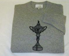 DAVID SULLIVAN Golf Sweater Size M  - Gray  - RYDER CUP TROPHY - 100% Cashmere #DavidSullivan #Sweater