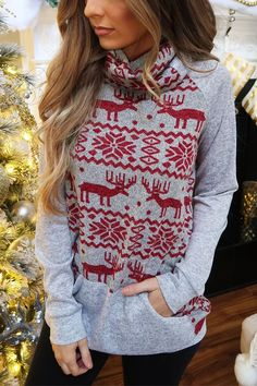 Womens Ladies Christmas Fleece Tree Reindeer Long Tunic Sweatshirt Jumper Dress