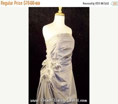 50% Off SALE Alyce Ruched Silver Gray Prom Pageant Dress Gown Ostrich Feathers sz 14 Clearance!